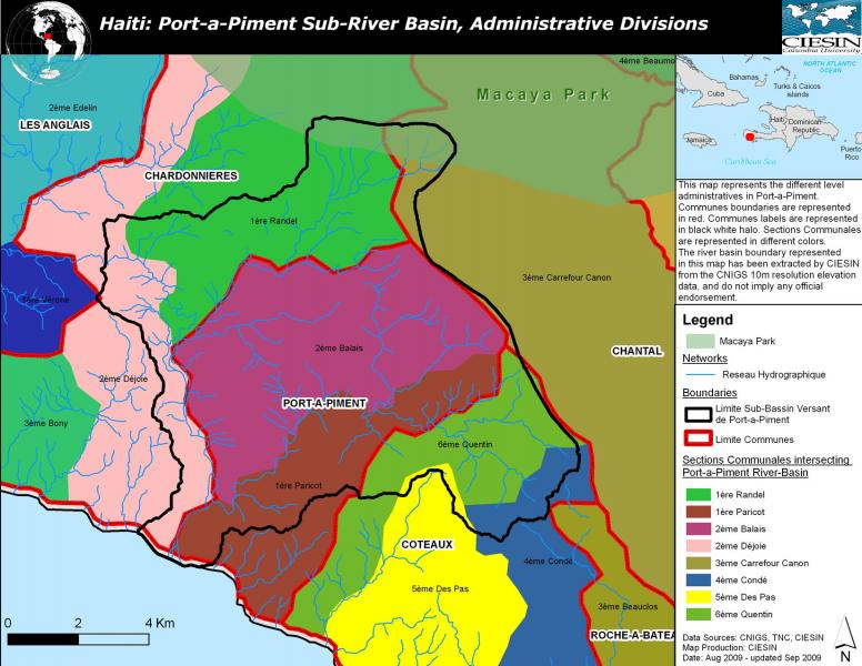 Administrative boundaries in the PortPiment watershed Haiti